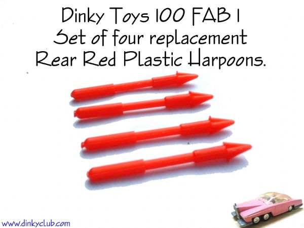 Dinky Toys 100 FAB1 Red plastic Rear Harpoons (Set of 4)
